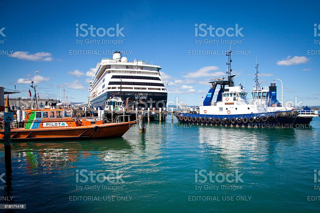 Tugboats, Pilot Boat and Cruise Ship at Tauranga Harbour stock photo