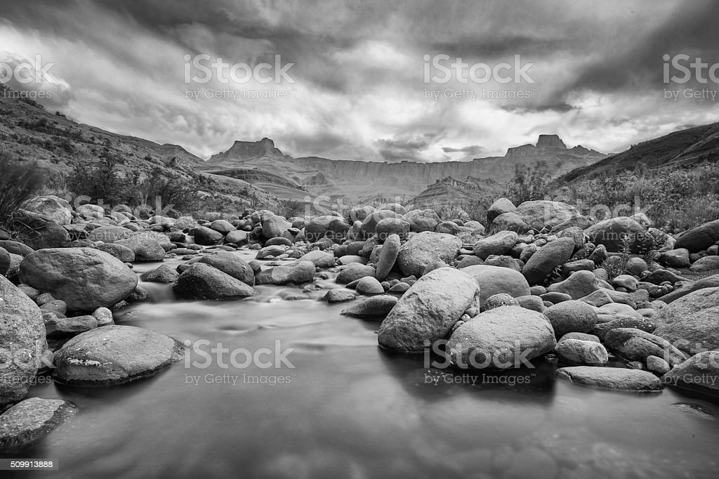 Tugela River and Amphitheatre in B&W stock photo