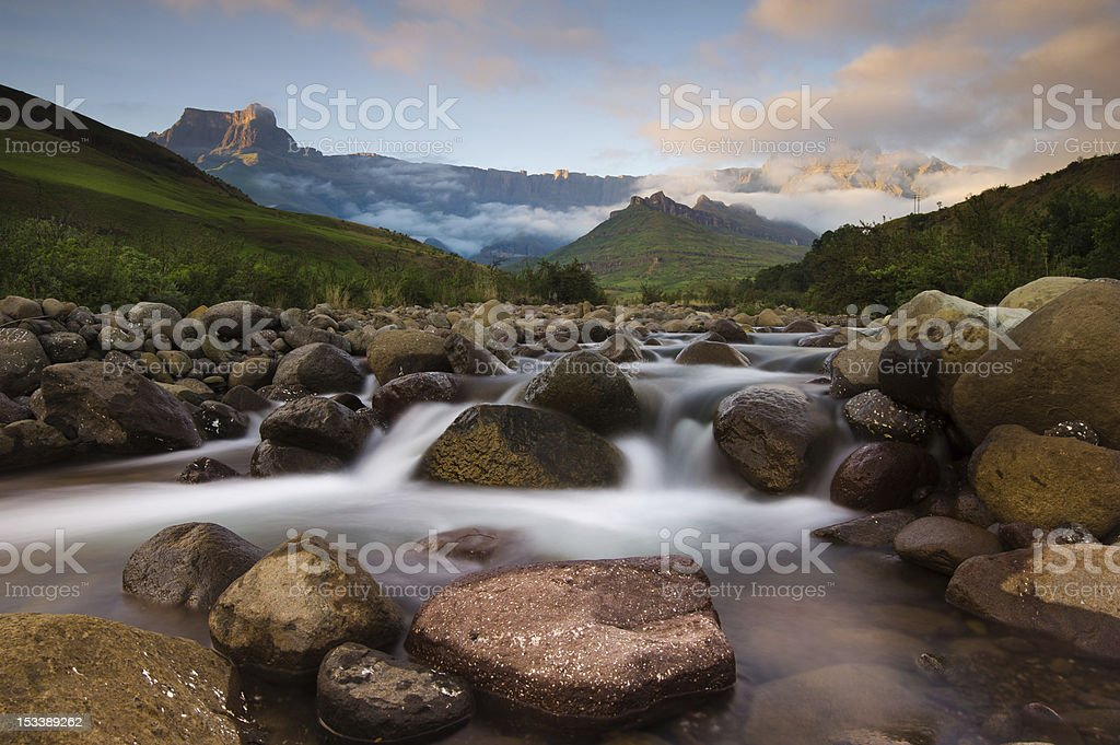 Tugela River, Drakensberg Ampitheatre stock photo