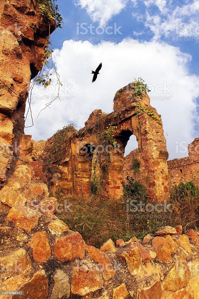 Tughlakabad Fort, Dilapidated and abandoned old monument in Delhi, India. stock photo