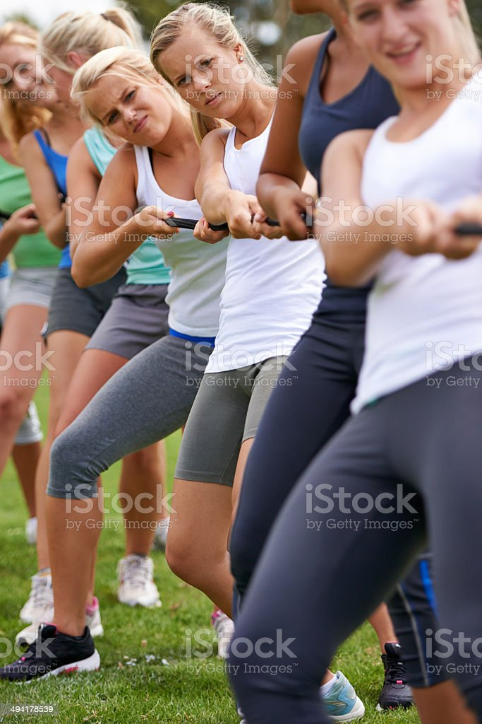 Tug-of-war champs royalty-free stock photo
