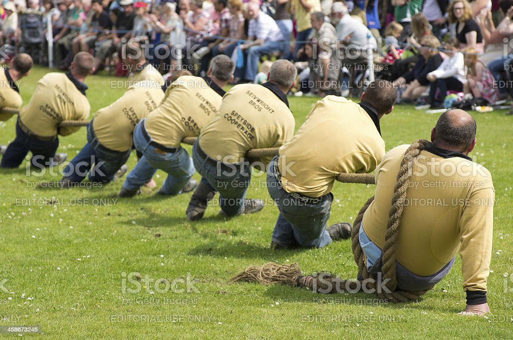 Tug-of-War team in action stock photo