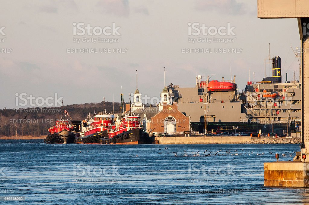 Tugs in Cape Cod Canal stock photo