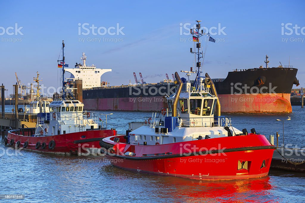 Tugs in the harbour of Hamburg royalty-free stock photo