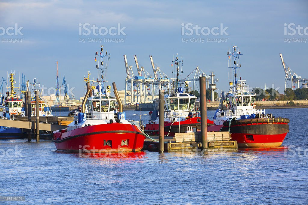 Tugs in the harbour of Hamburg stock photo