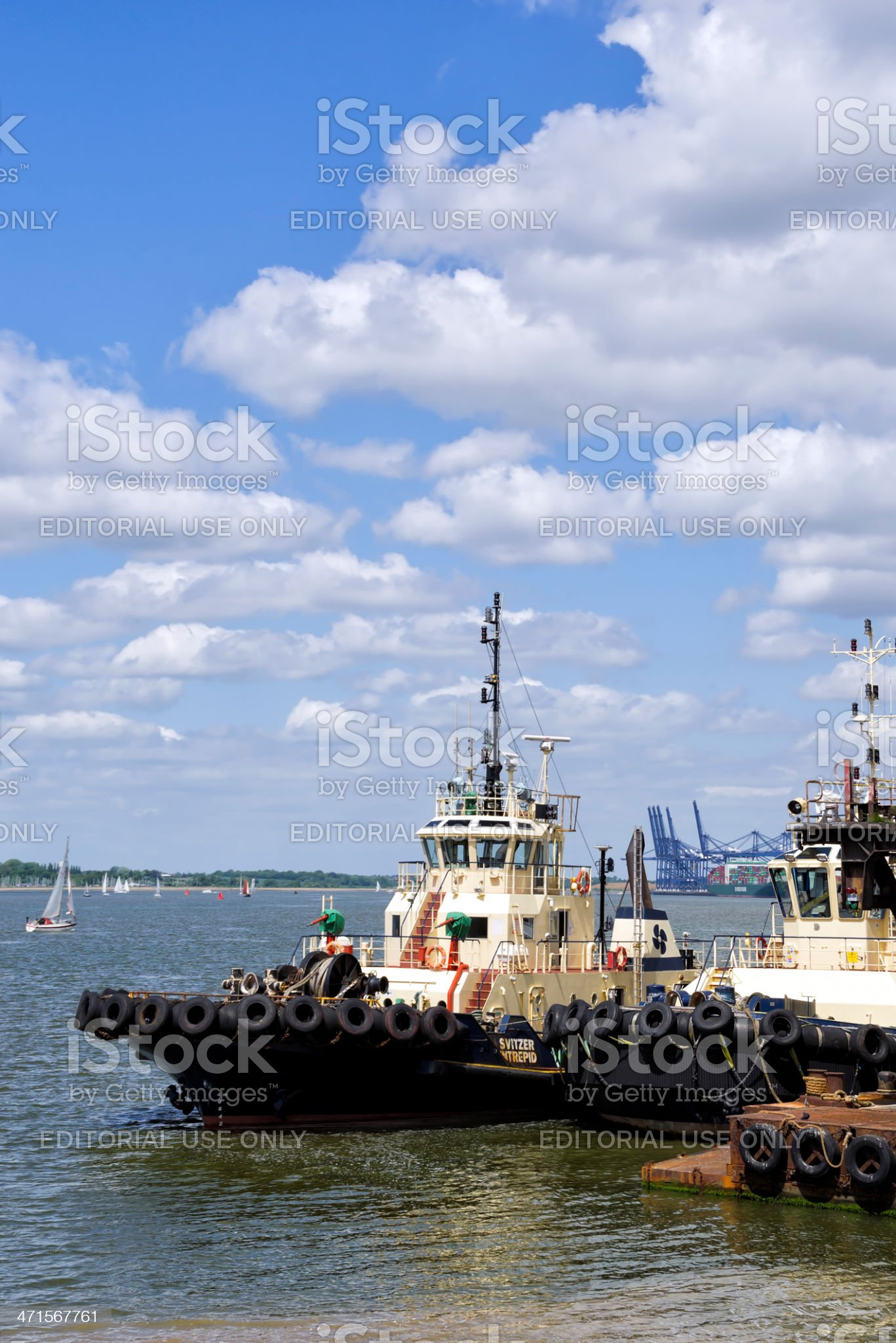 Tugs in the Orwell estuary at Felixstowe royalty-free stock photo