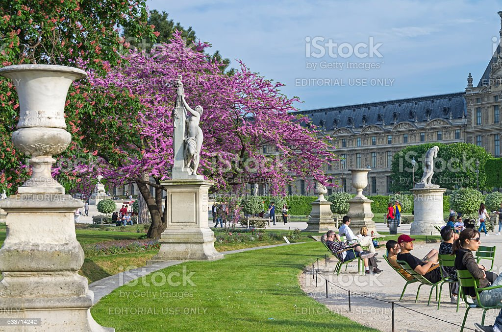 Tuileries Garden in early May. stock photo
