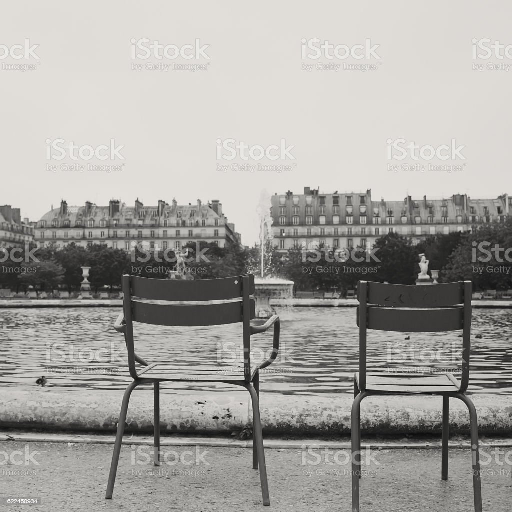 Tuileries Garden Pond stock photo