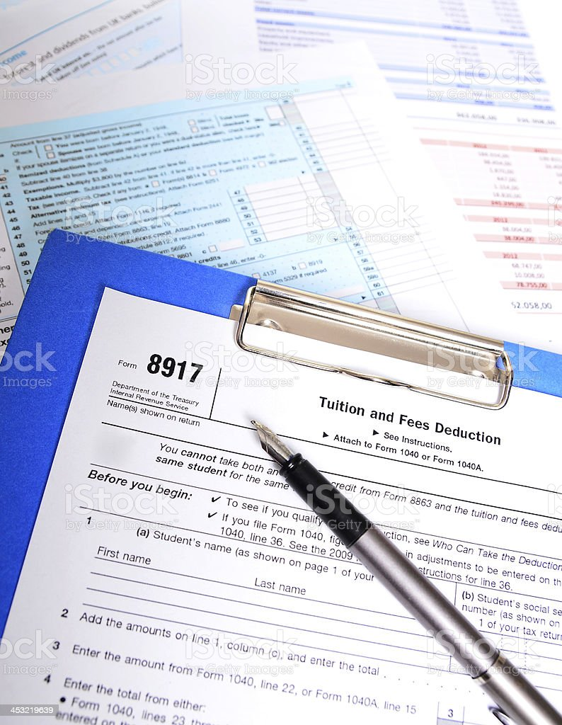 IRS Tuition fee tax form 8917 royalty-free stock photo