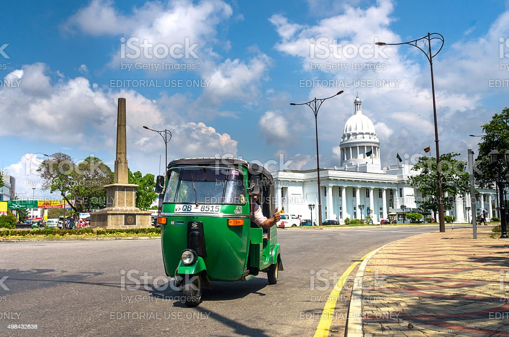 Tuk Tuk in a city street in Colombo stock photo