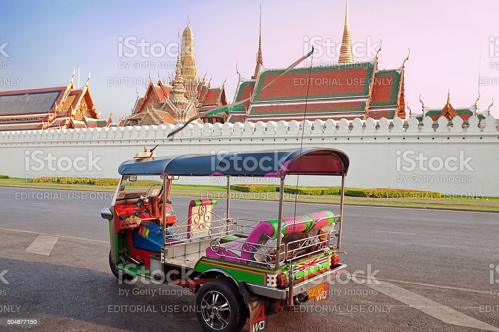 Tuk Tuk taxi waiting customers about Wat Phra Kaeo stock photo