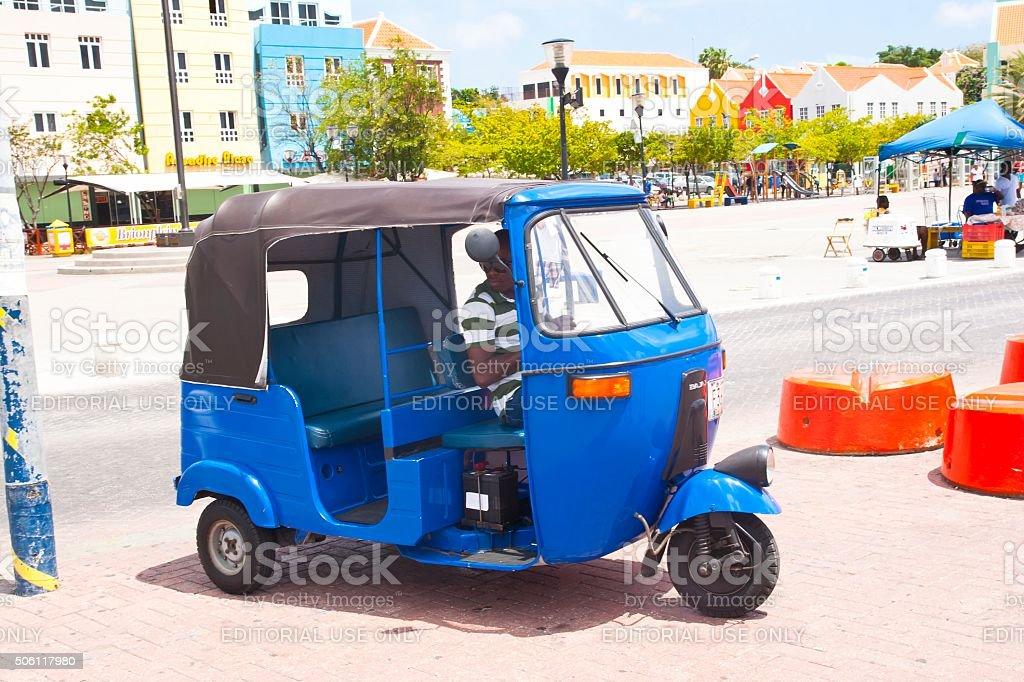 Tuk Tuk Taxi wating for passengers stock photo