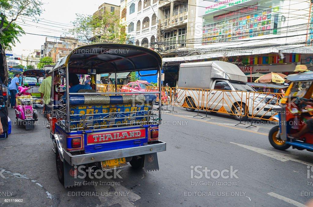 Tuk Tuk, Thai traditional taxi in Bangkok Thailand stock photo