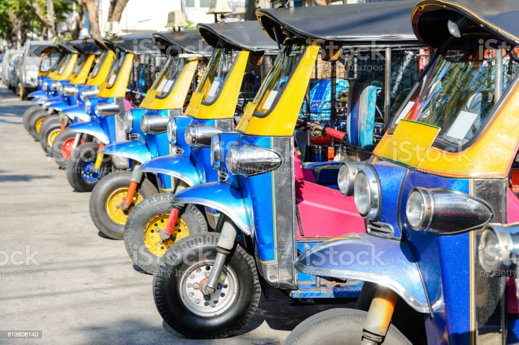 tuk tuk thailand is local taxi thai is Favorite activities  and attraction'nof tourists in bangkok, thailand stock photo