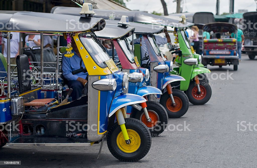 tuk tuks in bangkok royalty-free stock photo