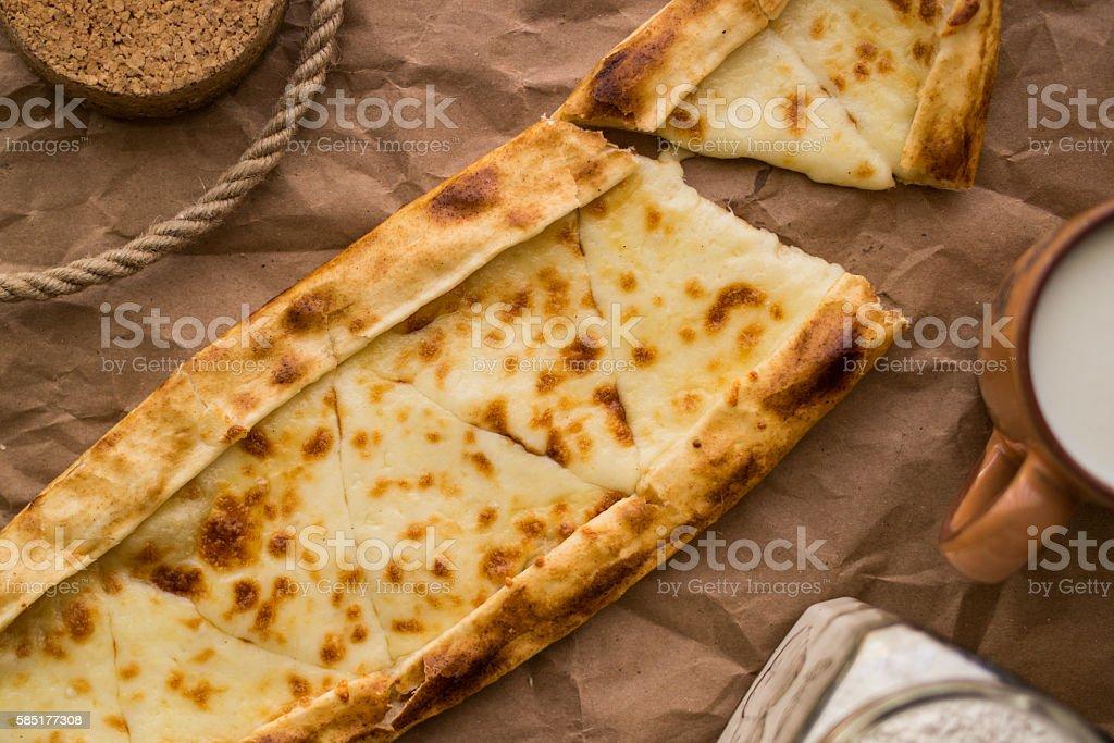 Tukish pide with cheese / Kasarli pide. stock photo