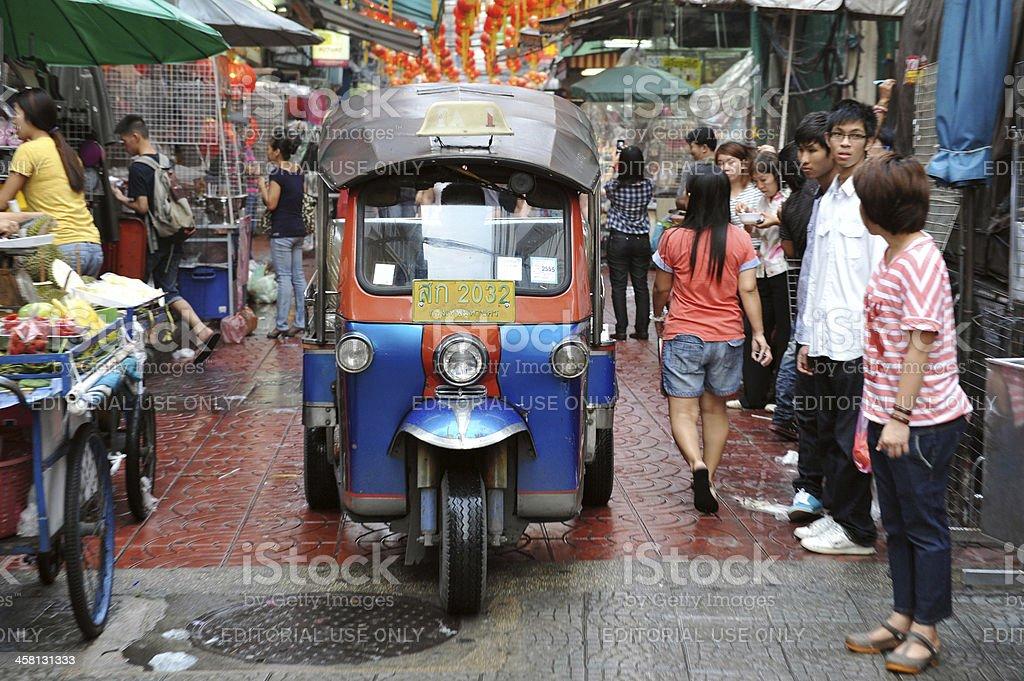 Tuk-Tuk on a Street in Bangkok's Chinatown royalty-free stock photo