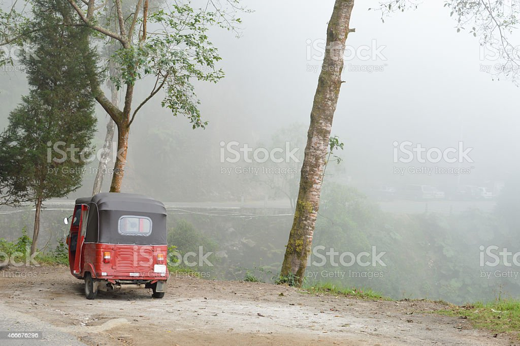 Tuk-tuk parked at the hot spring Georginas site, Guatemala stock photo