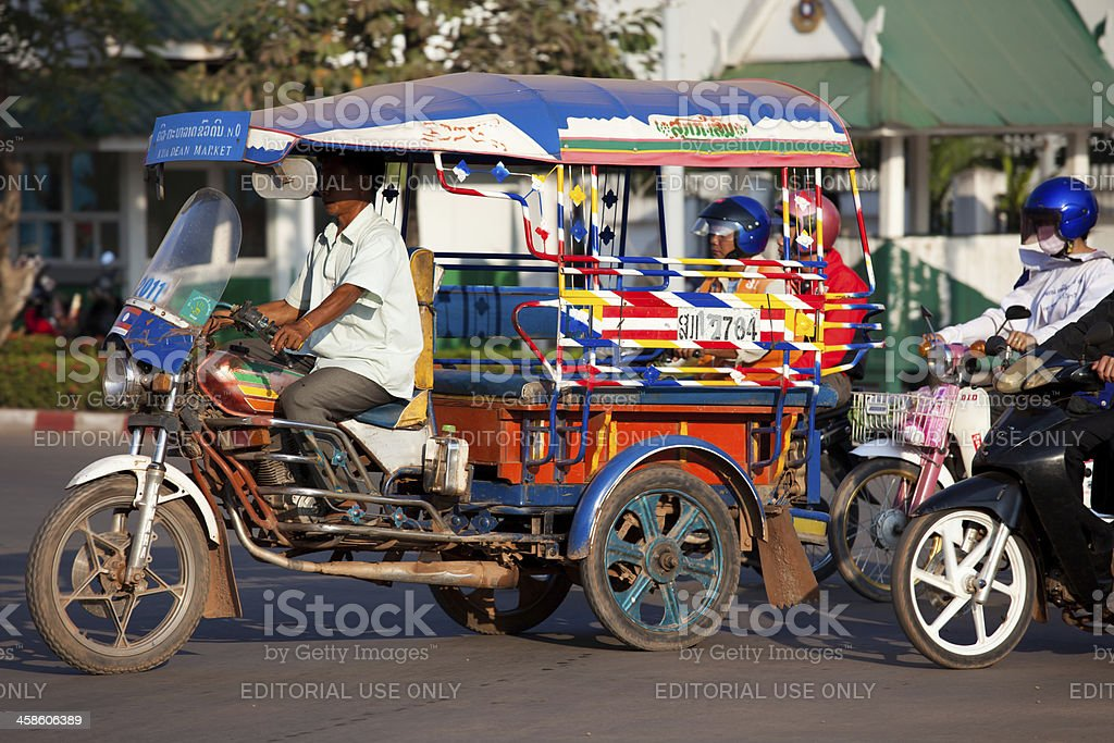 TukTuk Taxi in Vientiane, Laos royalty-free stock photo