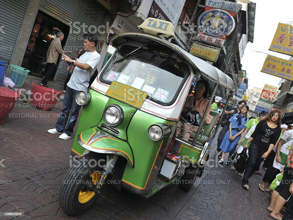 Tuk-Tuk Taxi on a Street in Chinatown royalty-free stock photo