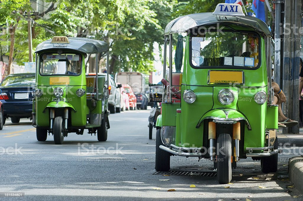 Tuk-tuk taxis in Bangkok royalty-free stock photo