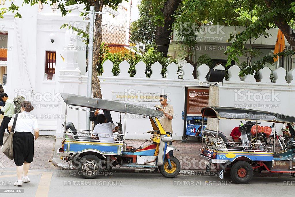 Tuk-tuks at Silpakorn University royalty-free stock photo