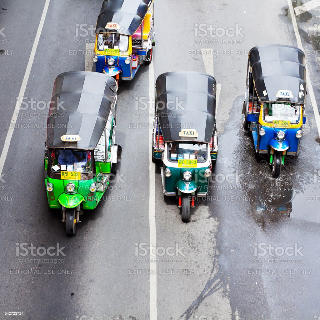 Tuktuks in Bangkok stock photo