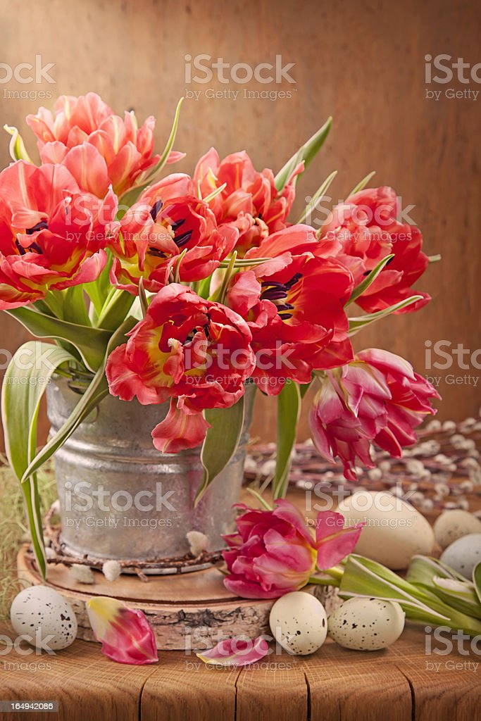 Tulip flowers and easter eggs royalty-free stock photo