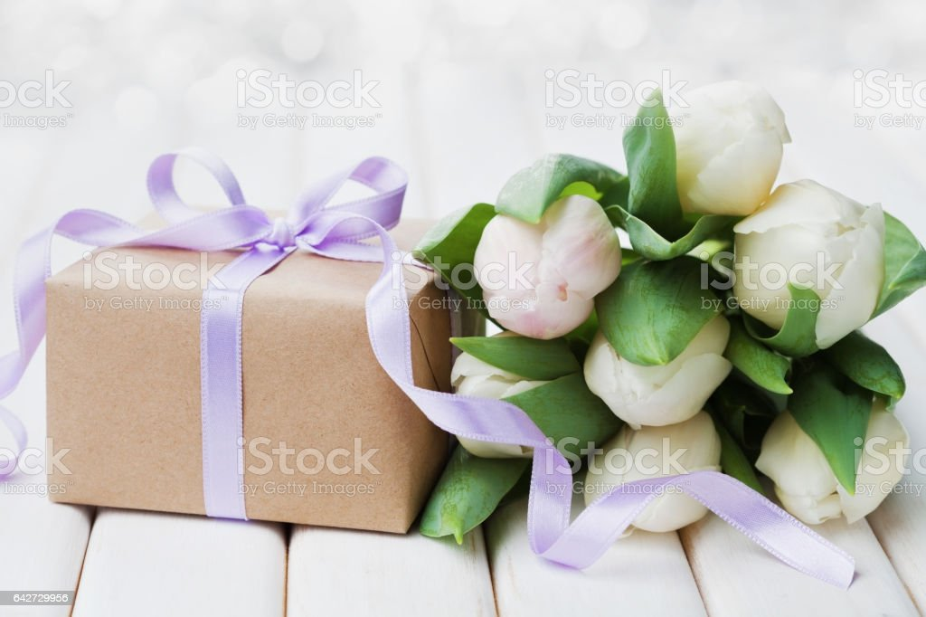 Tulip flowers and gift for Birthday, Womens or Mothers Day. stock photo
