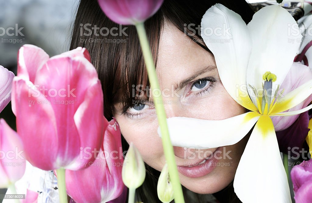 tulip girl royalty-free stock photo