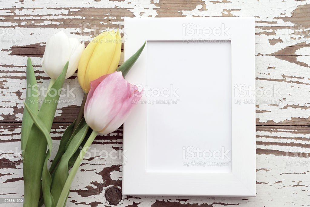 Tulips and a picture frame on a wooden background stock photo