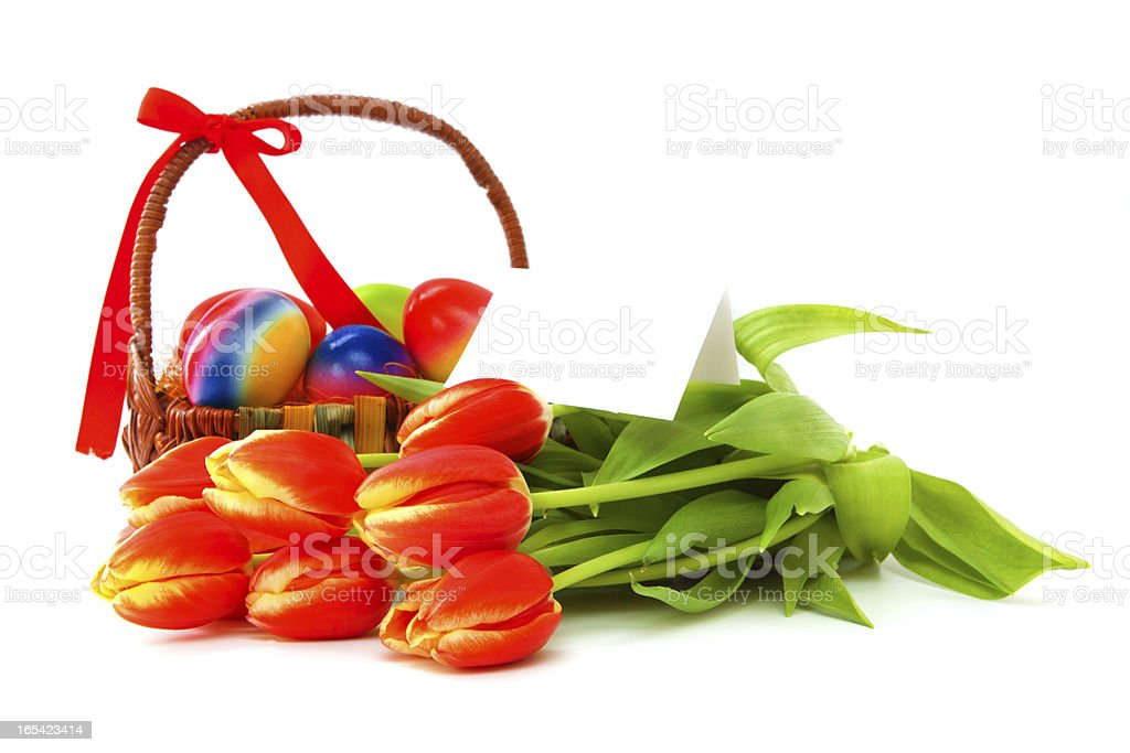 Tulips and Easter eggs. royalty-free stock photo