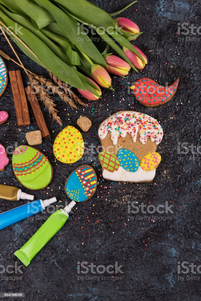 Tulips and gingerbread cookies stock photo