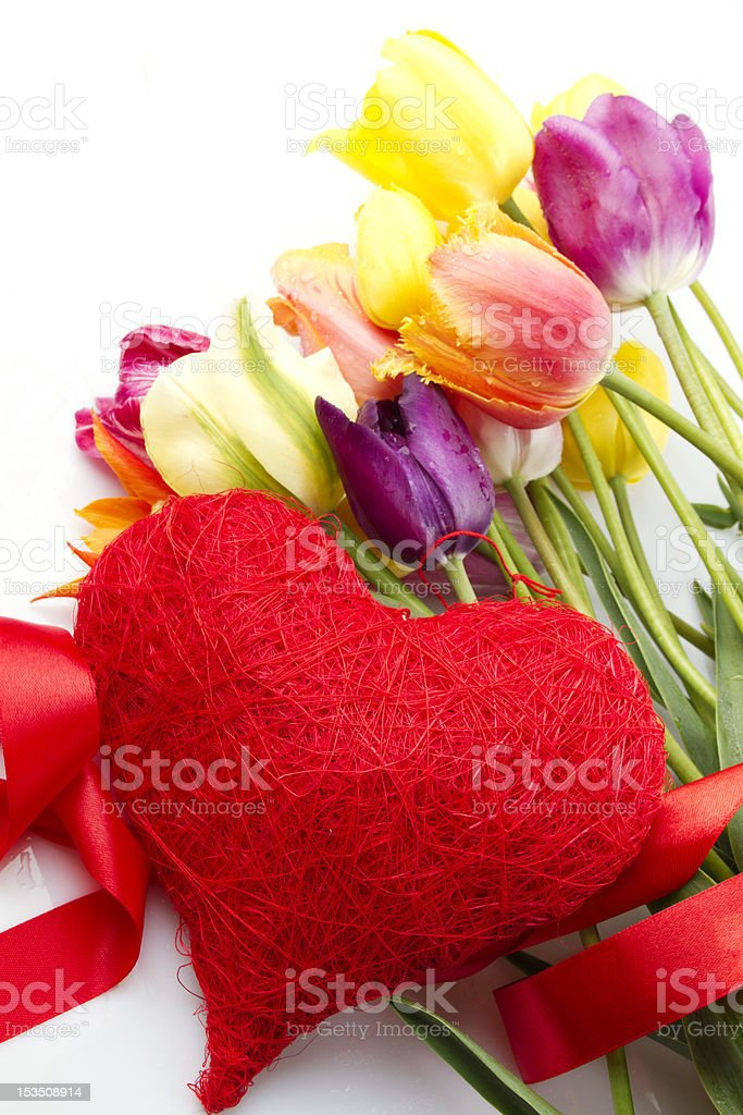 Tulips and red heart royalty-free stock photo