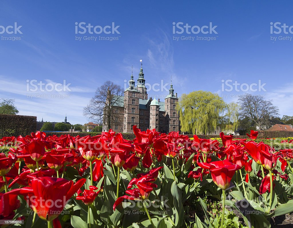 Tulips and Rosenborg Castle stock photo