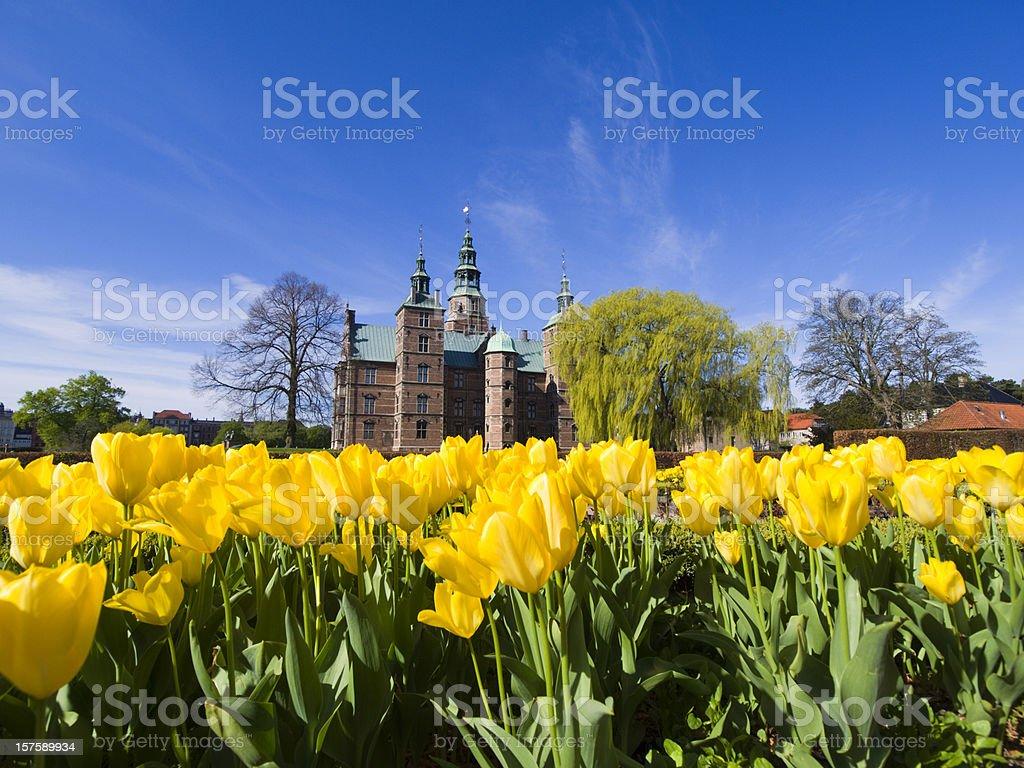 Tulips and Rosenborg Castle royalty-free stock photo