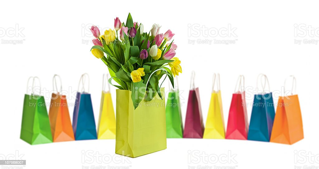 Tulips and shopping bags royalty-free stock photo
