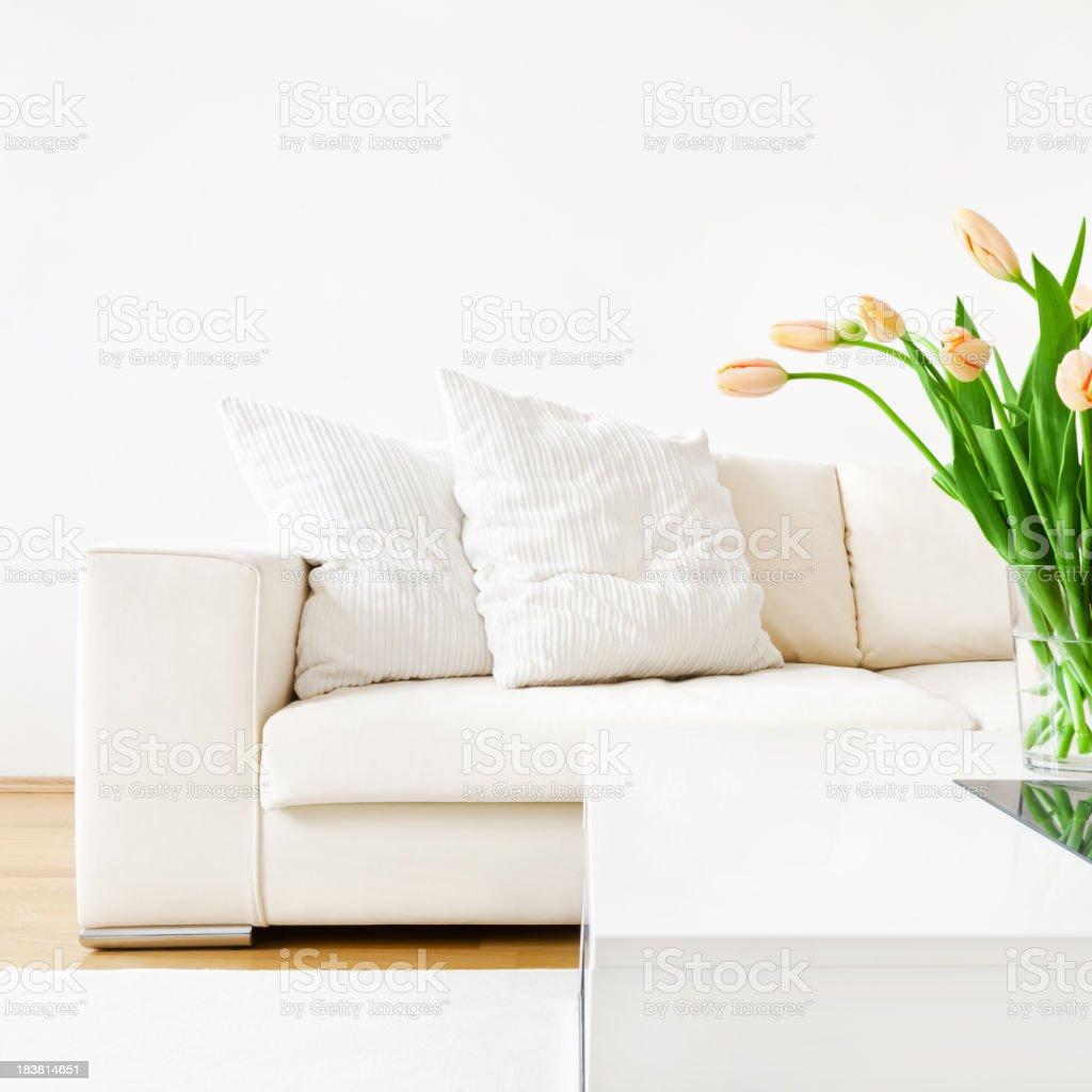 Tulips and Sofa stock photo