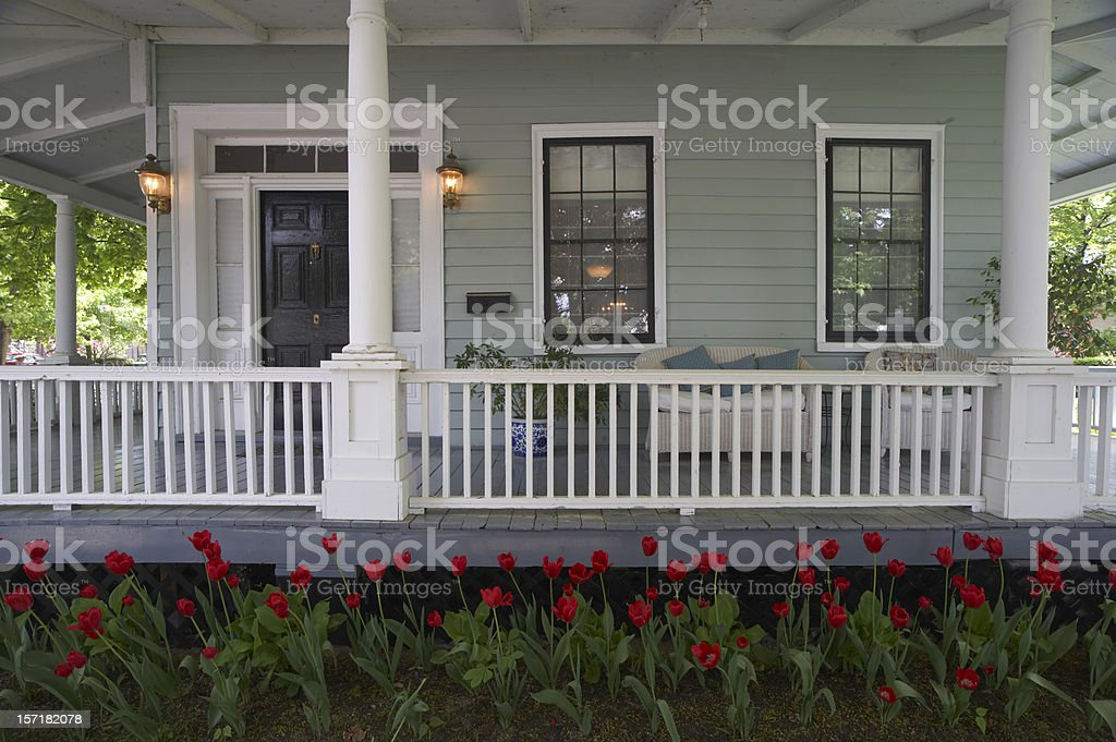 Tulips by the Porch royalty-free stock photo