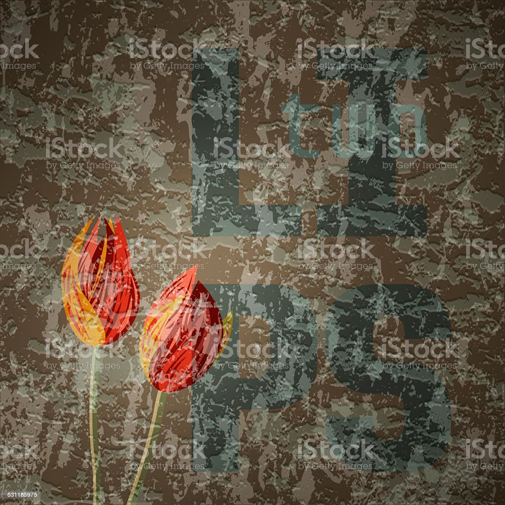 Tulips. Graffiti illustration with  text on brown grunge background stock photo