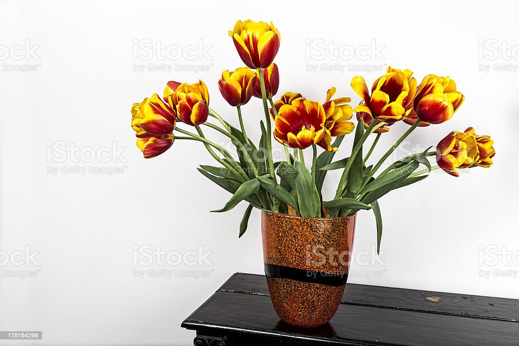 Tulips on piano royalty-free stock photo