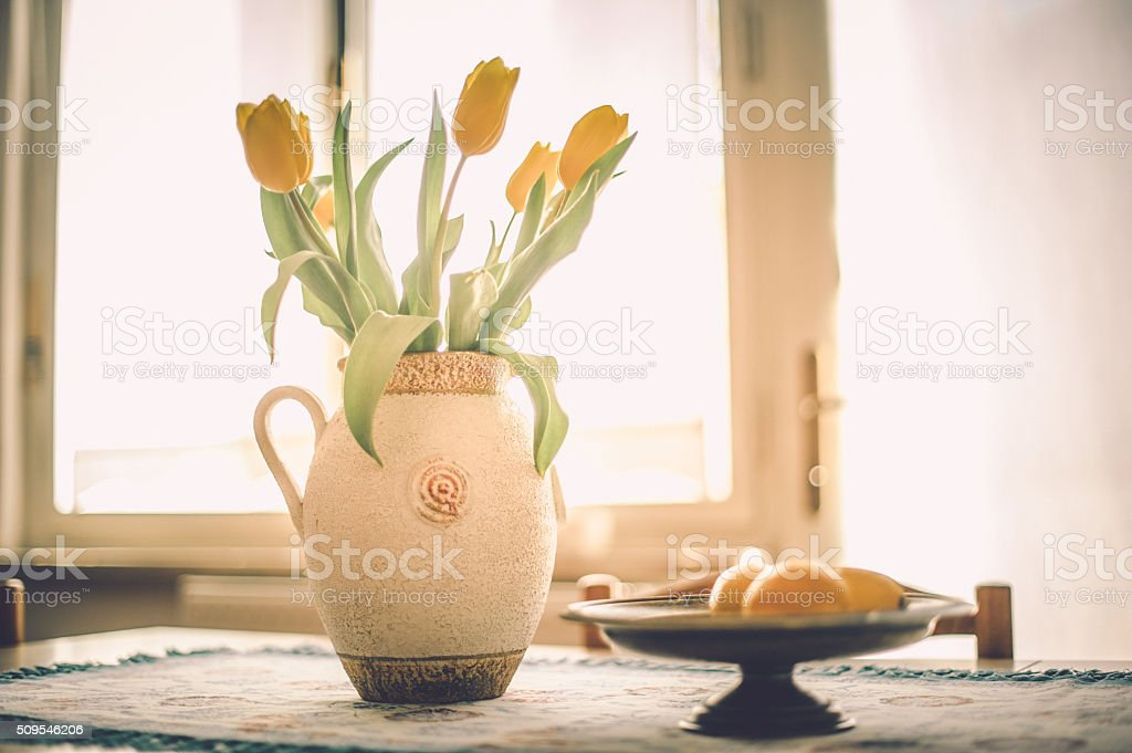 Tulips on Table stock photo