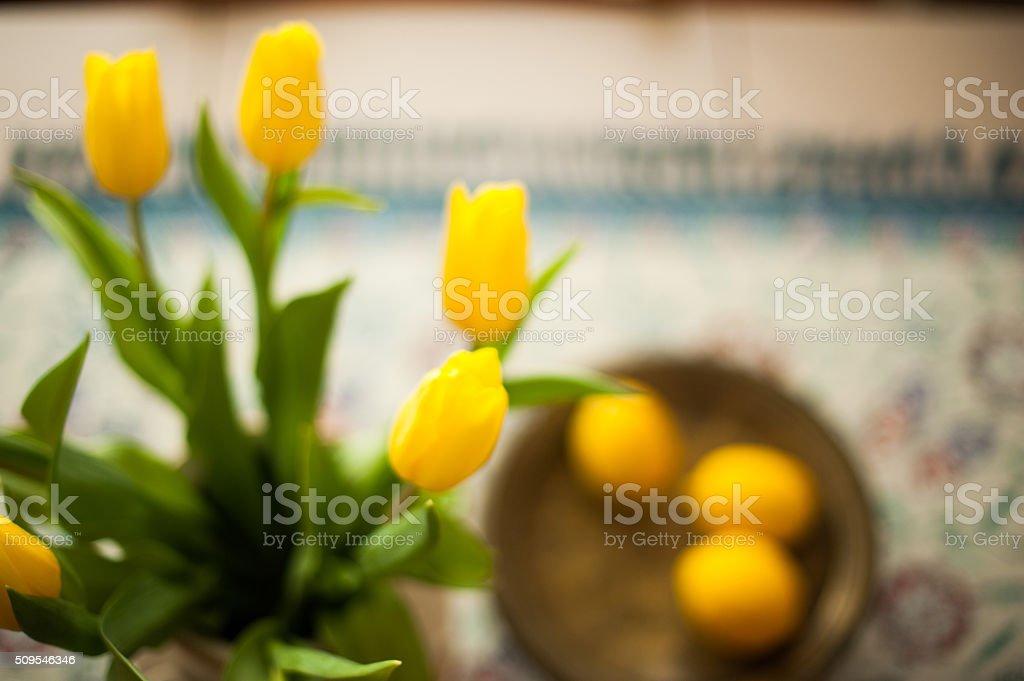 Tulips on Table stock photo