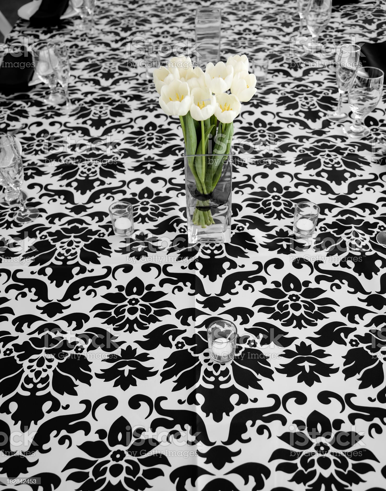 Tulips on Tablecloth royalty-free stock photo