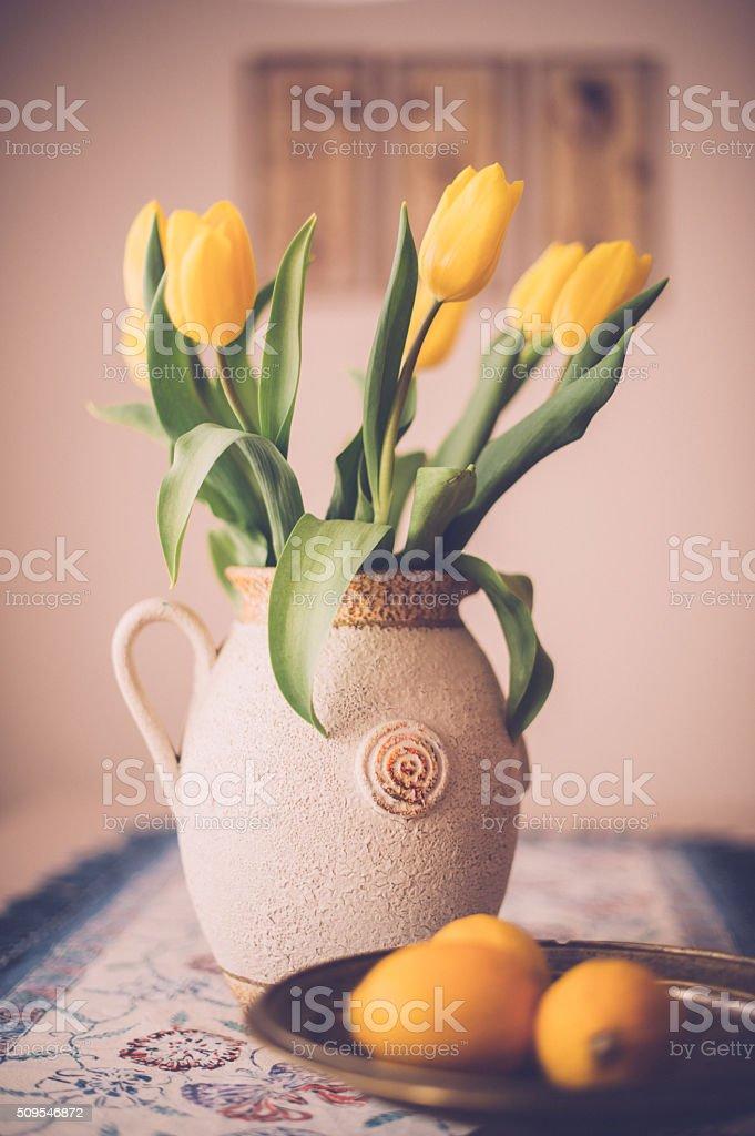 Tulips on the Kitchen Table stock photo