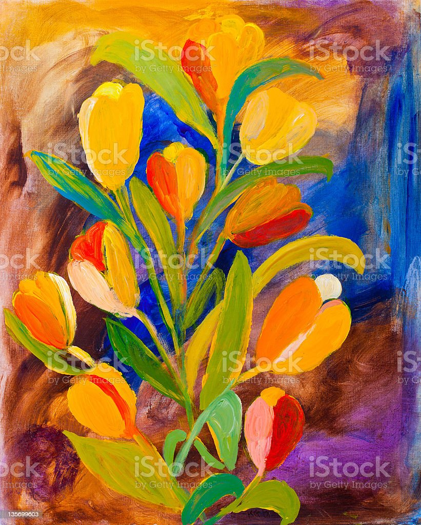 Tulips painting in acrylic by Kay Gale royalty-free stock photo