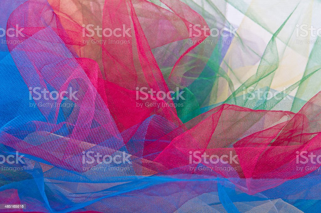 tulle fabric colorful isolated on white background stock photo