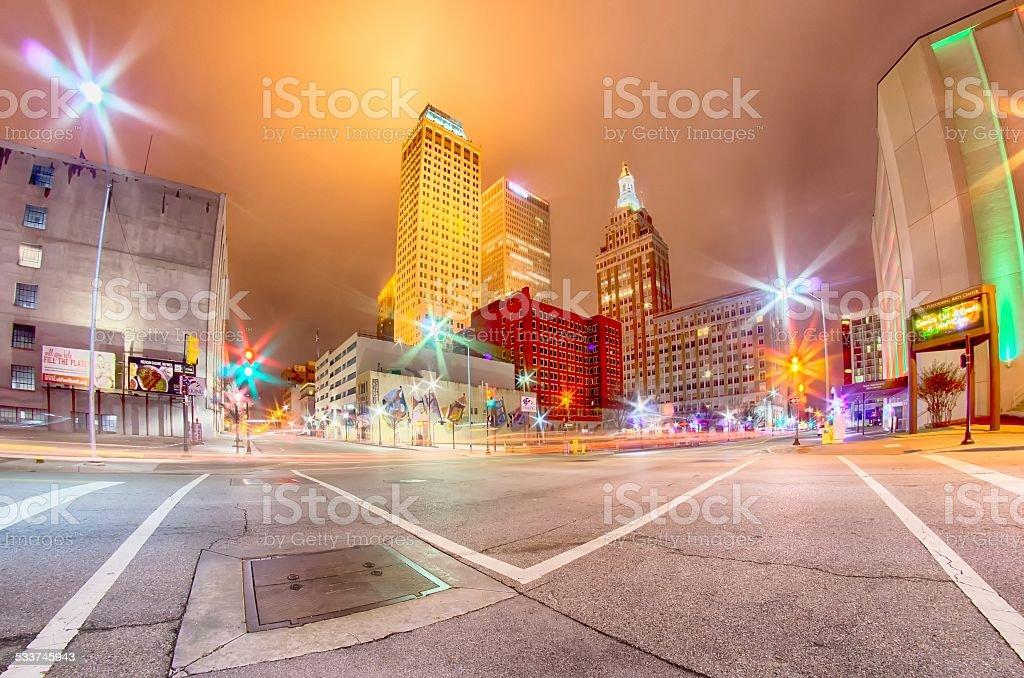 tulsa city skyline around downtown streets stock photo