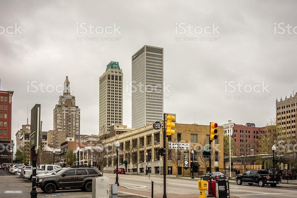 tulsa oklahoma city skyline stock photo