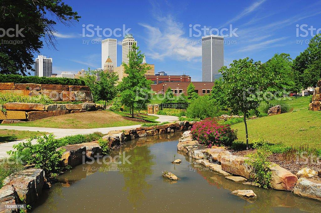 Tulsa skyline and park stock photo